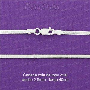 3998ea477a65 Imprimir  Ampliar. Cadena en plata de ley cola de topo oval plana ...