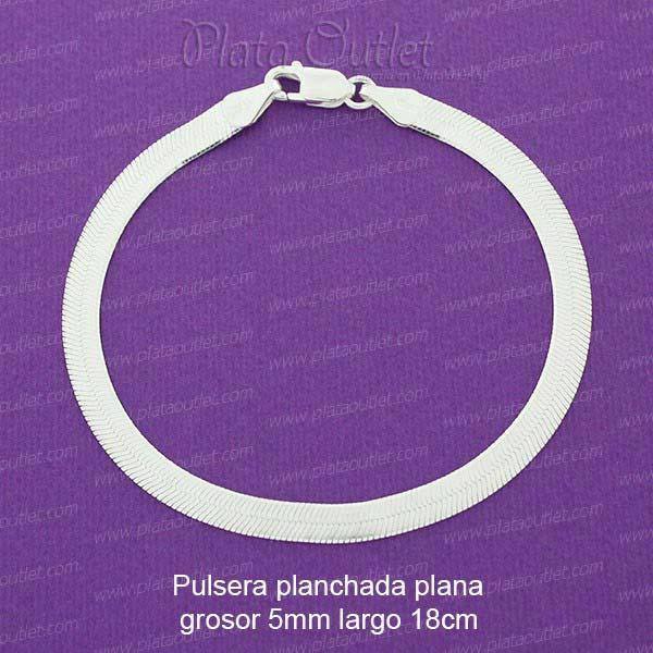 78f1ad834ca5 Pulsera planchada plata 18cm